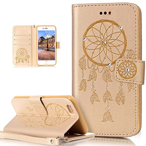 Custodia iPhone 6S, iPhone 6 Cover, ikasus® iPhone 6S/iPhone 6 Custodia Cover [PU Leather] [Shock-Absorption] Goffratura Embossing Floreale Fiore Cranio Campanula Modello Protettiva Custodia Cover con Campanula Oro