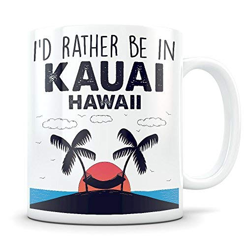r Beach Vacation Themed Gift for Women and Men Who Travel I Love Kauai Hawaii Coffee Mug for Snowbirds, Travelers, or Expats ()