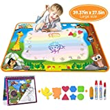 MerryXGift Water Doodle Mat, Large(39.4 x 27.5in) Rainbow Drawing Mat 7 Colors Writing Pad with Aqua Water Book, 4 Magic Pen & Stamp - Best Learning Toy for Toddlers Age 2 3 4 5 6 7+ Years Old
