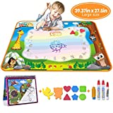 MerryXGift Water Doodle Mat, Large(39.4 x 27.5in) Rainbow Drawing Mat 7 Colors Writing Pad with Aqua Water Book, 4 Magic Pens & 8 Stamps - Best Learning Toy for Toddlers Age 2 3 4 5 6 7+ Years Old
