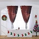Hukz Weihnachts-Borneol, mit Vorhängen, Einzelstück,Weihnachtsvorhang Tüll Fenster Behandlung Voile Drape Valance 1 Stoff(100x130cm) (Farbe)