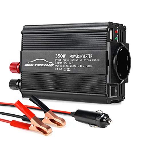 ISSYZONE Spannungswandler Wechselrichter 350W DC 12V auf AC 220V Power Inverter Converter Schwarz 220v Power Inverter