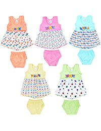 Sathiyas Baby Girl's Cotton Dresses, 0-6 Months,(Multicolour, GW15) - Pack of 5