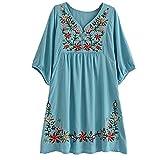 HAOKTY Damen Mexikanischen Ethnischen Floral Gestickten V - Ausschnitt Bluse Boho Mini Kleid (Hellblau)