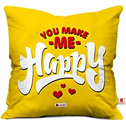 indibni Valentine Gifts for Love Printed Cushion Cover 12X12 Filled Pillow Yellow You Make Me Happy Gift for Him Her Anniversary