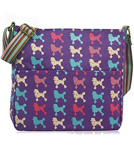 Lovely uccelli e fiori animali della fattoria vintage fiori barboncini cani salsiccia vintage gufo pois Scottie Crossbody messenger Bags Poodle-Purple