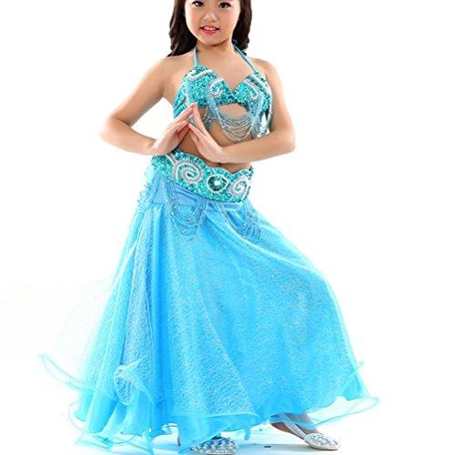 Kinder Bauchtanz Kleid Performance Kostüm Professionel Tanzbekleidung Set 3 Stück , Blue , One Size (Rock Set Kleid Atemberaubendes)
