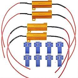 ARMAZENAR 4-Pack 50W 6ohm Lastwiderstand für Blinklicht Licht Blink Blinker Licht- (Fix Hyper Flash, Warnung Canceller, Fix Error Fast Flash) mit 4pcs Quick Wire Clip