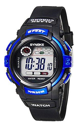 Kinder Armbanduhr Runde Digitaluhr mit Chronographen Wecker Stoppuhr und Licht-Funktionen - Blau