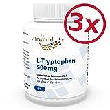 3er Pack Vita World L-Tryptophan 500mg 270 vegetarische Kapseln Apotheker-Herstellung