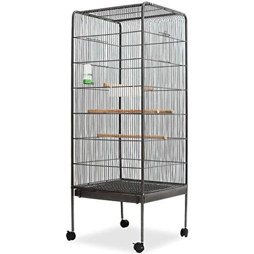 Festnight voliera gabbia per uccelli struttura in acciaio + legno + plastica, 54x54x146 cm