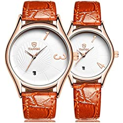 Valentine's Day Gifts, Hansee Lovers' Watches, Leather Band, 2 Pcs Ultrathin Waterproof Quartz Watch (Orange)