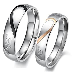 ROSES ARE RED 2 pieces Couples Blue Rings for Men Women Gold Wedding Bands Engagement AnniversaryALRG0119SL