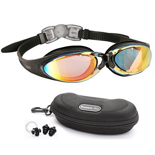 Bezzee Pro Gafas de Natación Anti Niebla Lente Tintada Ajustable Correas Gafas Natación para Hombres Mujeres Adultos con Estuche Protector Oídos Tapones
