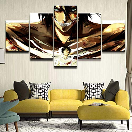 KISlink Prints Animation Poster Wandkunst Bilder Rahmen 5 Stück Attack on Titan Eren Yeager Leinwandbilder Home Dekorativ, A, 40x60x240x80x240x100x1