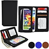 'Cooper Cases (TM) Infinite Wallet Universal 5 Smartphone Case in Black PU Leather Case and Built-in Screen Protector, Card Slots, Note Section)