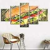 DOORWD Leinwandbilder Bild auf Leinwand Brot-Snack-Restaurant Vlies Wandbild Kunstdruck 5 Stück 200x100 cm Wanddekoration Deko