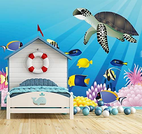 Bilderdepot24 Vlies Fototapete - Kinderbild - Unterwasser Tiere III - 300x300 cm - mit Kleister – Poster – Foto auf Tapete – Wandbild – Wandtapete – Vliestapete