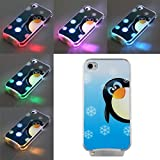 Ecloud Shop Coque Housse Etui Arrière Pingouin LED Flash Lumineuse Bleu Pour iPhone...