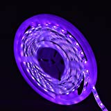 Omika UV Blacklight Led Strip light 5M/16FT 3528 SMD - Purple Ultraviolet String Lights with Strip Connector and One-Side Fixing Kit – Perfect for Indoor, Wall Decor