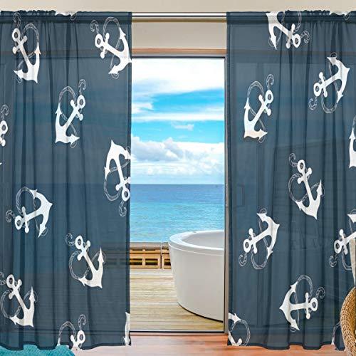 DOSHINE Dowshine Vorhang, Marineblau, nautisches Ankermotiv, Fenstervorhang für Jungen Mädchen, Wohnzimmer, Badezimmer, Schlafzimmer, 139,7 x 198 cm, 2 Paneele, Polyester, Multi, 55