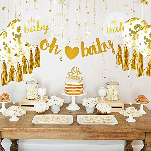 Baby Dusche Dekorationen Neutral Decor für jungen & mädchen Gold Banner (OH BABY) & 10 stück Luftballons Konfetti Band & Cupcake Topper Kit