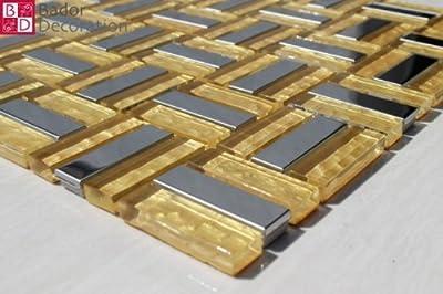 1 Matte Glasmosaik Mosaikfliesen Mosaike Mosaik Glas Edelstahl Gelb Gold 30x30 von Bador - TapetenShop