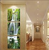 OLILEIOVersión vertical 3 de ninguna animación del cuadro Reloj de pared pinturas decoran el pasillo para el pasillo murales Shanshui paisaje cae swan ,30*30,25mm tablón grueso cristal, película)