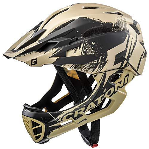 C-Maniac Pro Fahrradhelm Downhill Fullfacehelme Kinnbügel Mountainbikehelm (Gold, S-M (52-56 cm))