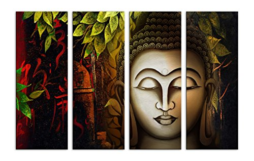 SAF Buddha Special 4 Panel Ink Painting (Synthetic, 60 cm x 1 cm x 90 cm, Set of 4)
