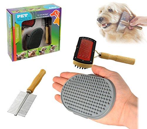 82009 Kit delle coccole 3 pz di spazzole per la pulizia e la cura del cane. MWS
