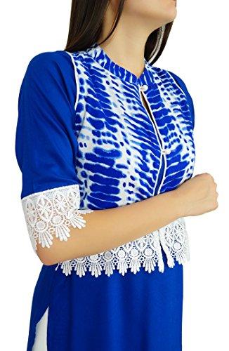 Bimba Blau Rayon Gerade Kurti Kurta mit Spitze Ethnic gestaltete Kleidung Blau