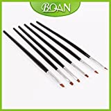 Generic Factory Retail 6pcs Nylon Hair Nail Brush Set UV Gel Paint Brush With Wooden Handle