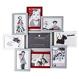 AC-Déco Cadre Photo pêle-mêle pour 9 Photos - 58.5 x 2.5 x 50.5 cm - Rouge et Gris