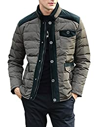 Queenshiny Short Men's Down Coat Jacket white duck down filling stand collar uk size M L XL XXL