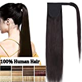 Queue de Cheval Extension Naturel - Rajout 100% Vrai Cheveux Humain - Wrap around Ponytail 18 Pouces - #1B Noir naturel