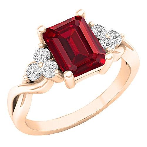 14K Rose Gold 8x 6mm Lab Ruby & Weiß Erstellt Saphir Verlobungsring Ring (Größe 7) (7 Saphir-ring Größe)