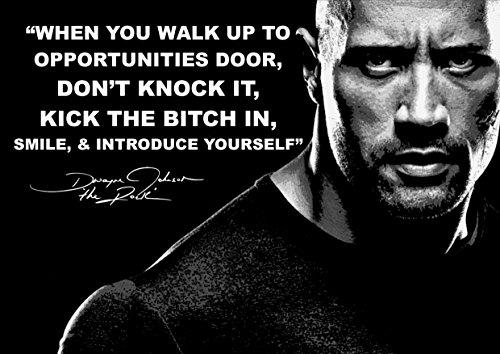 """Motivierendes und inspirierendes Poster mit dem Lebensmotto von Dwayne Johnson – """"The Rock"""" (mit Schriftzug in englischer Sprache)"""