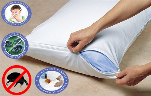 Buy 1 Get 1 Free Pillow Protector Anti Dustmite Hypollaergenic Bed Bug Proof Zippered - Allergen Free Bedding