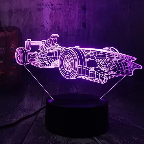Guo F1 Formula 3D Nachtlichter - Racing - F1 - Kreative Nachtlichter - Kreative Geschenke - Acrylmaterial - 3D Tischlampen - Beste Wahl Für Freunde - Mehrere Farben Können Ihre Schönheit Aufhellen -