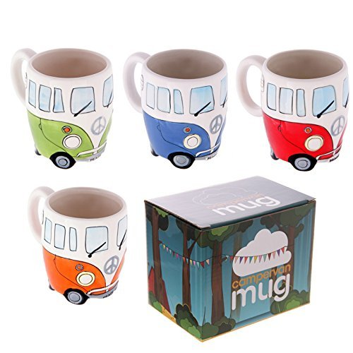 Set-of-4-Camper-Van-Mugs-Hand-Painted-Blue-Red-Orange-Green