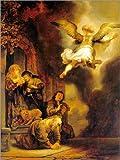 Posterlounge Leinwandbild 100 x 130 cm: Erzengel Raphael verlässt die Familie des Tobias von Rembrandt Van Rijn - fertiges Wandbild, Bild auf Keilrahmen, Fertigbild auf echter Leinwand, Leinwanddruck