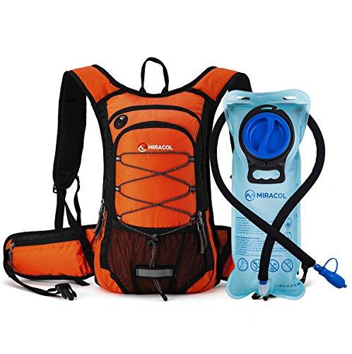 Miracol idratazione zaino con vescica dell' acqua 2L–isolamento termico Pack Liquid mantiene fresco fino a 4ore–multiple vano portaoggetti–vescica con flusso isolante, colore: arancione