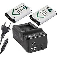 4in1-SET für die Sony FDR-X3000R / X3000 4K Actioncam --- 2 Akkus für Sony NP-BX1 (1000mAh) + 4in1 Ladegerät (u.a. mit USB / micro-USB und Kfz/Auto) inkl. PATONA Displaypad