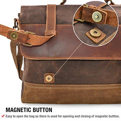 d30cf52937 NUBILY Brosa Lavoro Uomo Tela Messenger Borse Spalla Laptop Tracolla  Impermeabile Tote Grande Scuola Vintage Bag Computer 15.6 Marrone