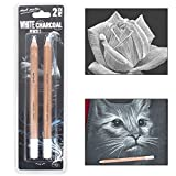 #5: Mont Marte White Charcoal Pencil Set for Professionals, Artist, Sketching Pencils, 2 Piece Set