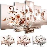 Quadro 200x100 cm - Tre colori da scegliere - 5 Parti - Grande Formato - Quadro su tela fliselina - Stampa in qualita fotografica - fiori acqua b-C-0082-b-n 200x100 cm B&D XXL
