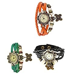 A&A CORP Dori Fashion Analog 3 Combo Watch Green,Orange and Brown Color for Woman and Girls