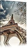 Eindrucksvoller Eifelturm Paris Format: 100x70 auf Leinwand, XXL riesige Bilder fertig gerahmt mit Keilrahmen, Kunstdruck auf Wandbild mit Rahmen, günstiger als Gemälde oder Ölbild, kein Poster oder Plakat