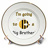 3dRose cp_157418_1 I'm Going to be a Big Brother Bumble Bee Porcelain Plate, 8-Inch